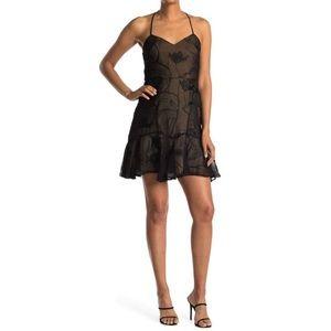 halston heritage black/nude minidress
